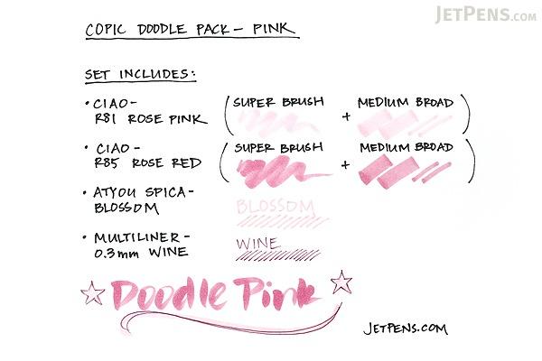 Copic Doodle Pack - 4 Pen Set - Pink - COPIC DPPNK