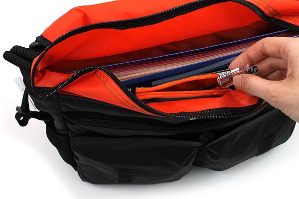 Kokuyo Neo Critz Transformer Pencil Case - Double-Zipper - Gray / Orange - KOKUYO F-VBF130-2