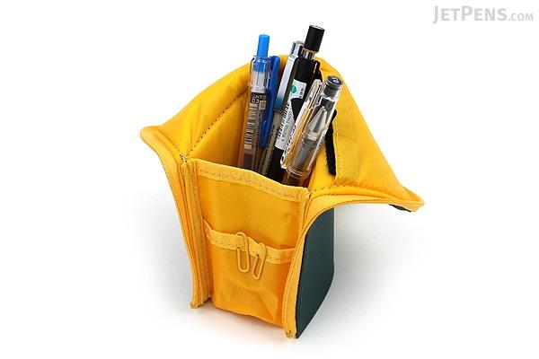 Kokuyo Neo Critz Transformer Pencil Case - Double-Zipper - Dark Green / Yellow - KOKUYO F-VBF130-3
