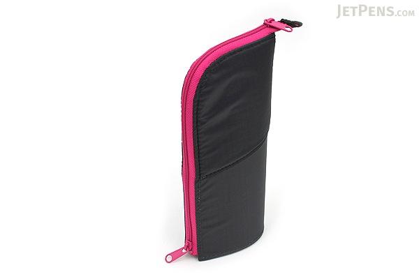 Kokuyo Neo Critz Transformer Pencil Case - Double-Zipper - Dark Gray / Pink - KOKUYO F-VBF130-4