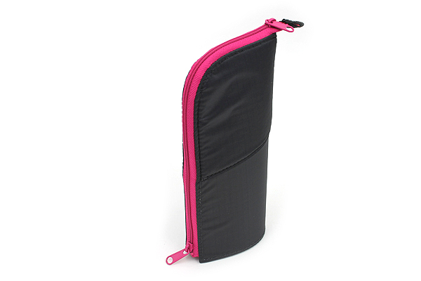 Kokuyo Neo Critz Transformer Pencil Case - Double-Zipper - Dark Gray / Pink - KOKUYO F-VBF130-4