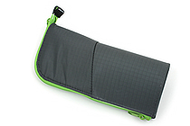 Kokuyo Neo Critz Transformer Pencil Case - Double-Zipper - Dark Green / Light Green - KOKUYO F-VBF130-5
