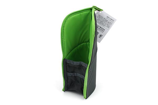 Kokuyo Neo Critz Transformer Pencil Case - Double-Zipper - Dark Green / Light Green - KOKUYO F-VBF130-5