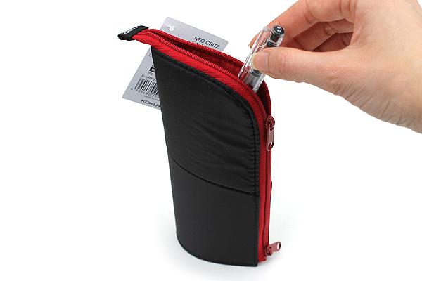 Kokuyo Neo Critz Transformer Pencil Case - Double-Zipper - Black / Red - KOKUYO F-VBF130-6