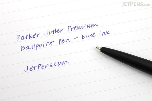 Parker Jotter Premium Ballpoint Pen - Medium Point - Satin Black Stainless Steel Chiselled - PARKER S0908860