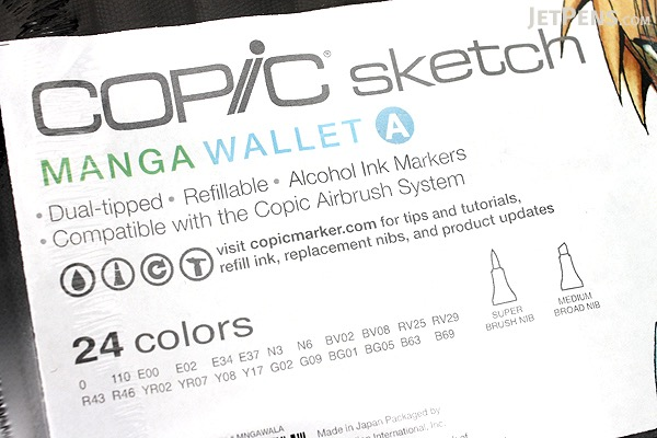 Copic Sketch Marker - 24 Color Specialty Wallet - Manga A - COPIC MNGAWALA