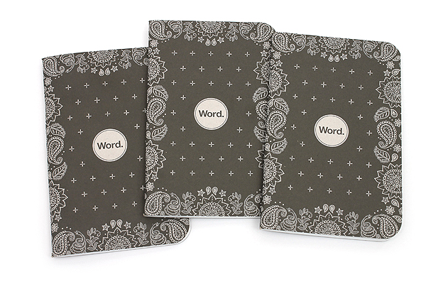 """Word Notebooks - Black Bandana - 3.5"""" x 5.5"""" - 48 Pages - Pack of 3 - Limited Edition - WORD NOTEBOOKS W-BBAN"""