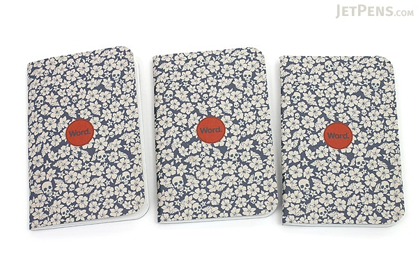 """Word Notebooks - Blue Floral - 3.5"""" x 5.5"""" - 48 Pages - Pack of 3 - WORD NOTEBOOKS W-FLORAL-BL"""