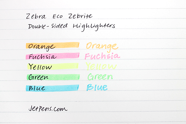 Zebra Eco Zebrite Double-Sided Highlighter - Fine / Medium - Yellow - Pack of 2 - ZEBRA 75052