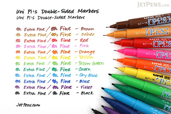Uni Pi:s Double-Sided Marker - Extra Fine / Fine - 8 Color Set - UNI PA121T8C