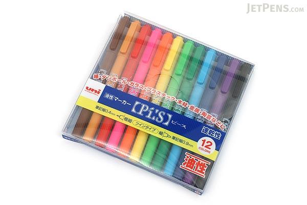 Uni Pi:s Double-Sided Marker - Extra Fine / Fine - 12 Color Set - UNI PA121T12C