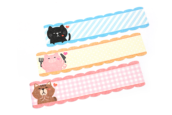 Pine Book Nami Nami Roll Label Stickers - 15 mm - Poyo Animal - PINE BOOK LS00054