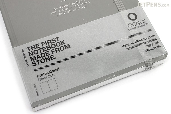 "Ogami Professional Notebook - Hardcover - Small - 5"" x 8.25"" - Plain - Gray - OGAMI OG08000043"
