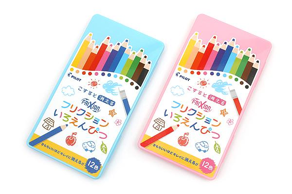 Pilot FriXion Color Pencil - 12 Color Set - Pink Case - PILOT PF-1S-12CP