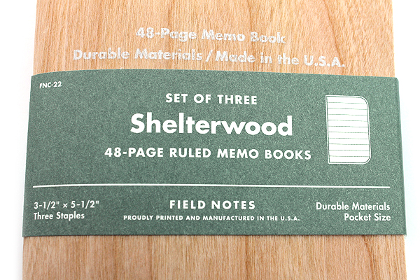"""Field Notes Color Cover Memo Book - Shelterwood Limited Edition - 3.5"""" x 5.5"""" - 48 Pages - 6.5 mm Rule - Pack of 3 - FIELD NOTES FNC-22"""
