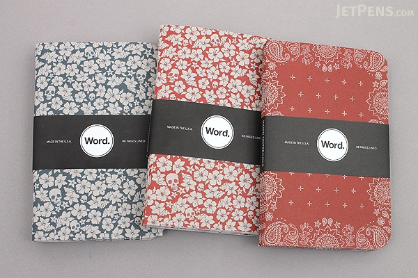 "Word Notebooks - Red Bandana - 3.5"" x 5.5"" - 48 Pages - Pack of 3 - Limited Edition - WORD NOTEBOOKS W-RBAN"