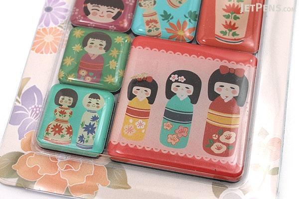 Kurochiku Japanese Pattern Magnet - Kokeshi (Doll) - Set of 6 - KUROCHIKU 71304801
