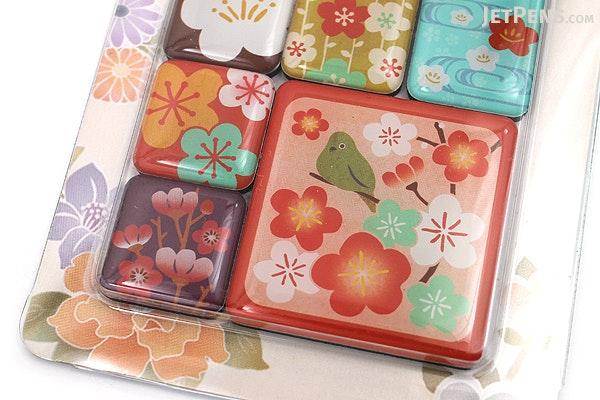 Kurochiku Japanese Pattern Magnet - Ume (Plum) - Set of 6 - KUROCHIKU 71304803