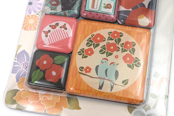 Kurochiku Japanese Pattern Magnet - Tsubaki (Camellia) - Set of 6 - KUROCHIKU 71204841