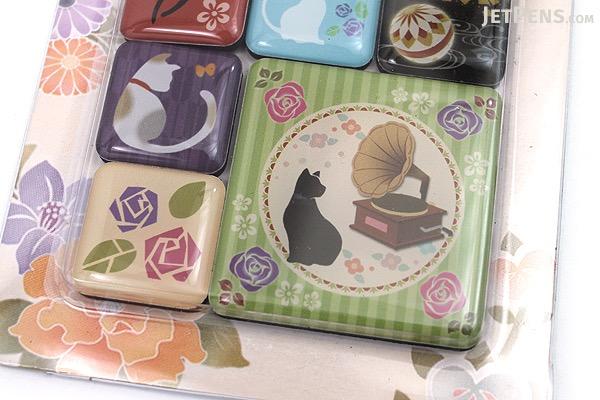 Kurochiku Japanese Pattern Magnet - Neko (Cat) - Set of 6 - KUROCHIKU 71204842
