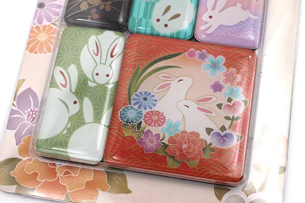 Kurochiku Japanese Pattern Magnet - Usagi (Rabbit) - Set of 6 - KUROCHIKU 71204844