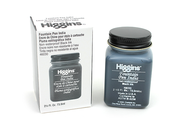 Higgins Fountain Pen India Ink - 2.5 oz Bottle - Black - HIGGINS 46030