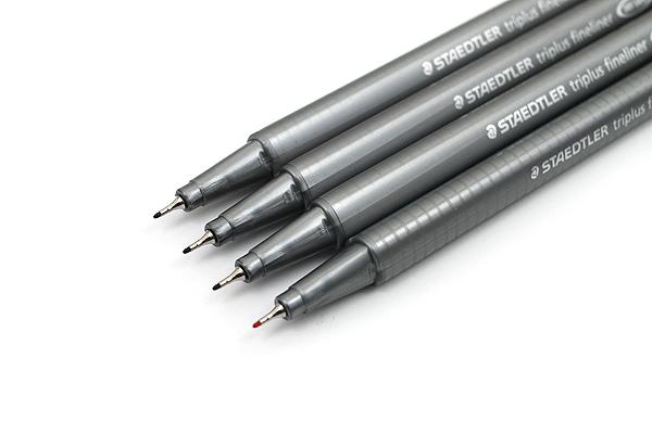 Staedtler Triplus Fineliner Pen - 0.3 mm - Basic Colors - 4 Color Set - STAEDTLER 334 SB4