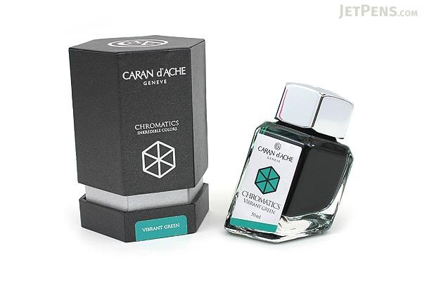 Caran d'Ache Vibrant Green Ink - Chromatics - 50 ml Bottle - CARAN D'ACHE 8011.210