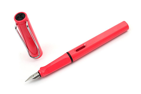 Lamy Safari Fountain Pen - Fine Nib - Limited Edition Neon Coral Body - LAMY L41F