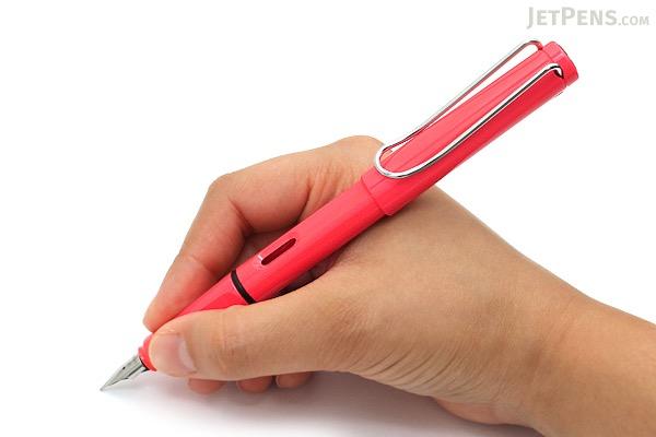 Lamy Safari Fountain Pen - Fine Nib - Limited Edition Neon Coral Body - LAMY L41F