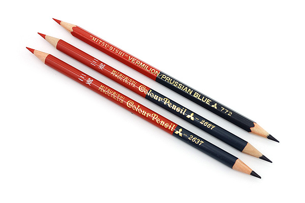 Uni Mitsubishi Vermilion and Prussian Blue Pencil - 7:3 - Pack of 12 - UNI K2637 BUNDLE