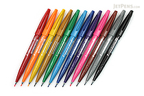 Pentel Fude Touch Brush Sign Pen - 12 Color Bundle - JETPENS PENTEL SES15C BUNDLE