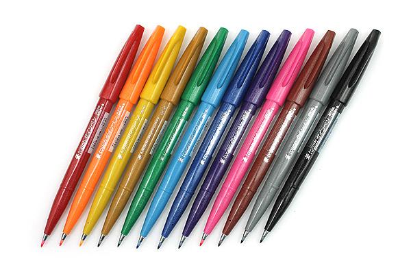 Pentel Fude Touch Sign Pen - 12 Color Bundle - JETPENS PENTEL SES15C BUNDLE