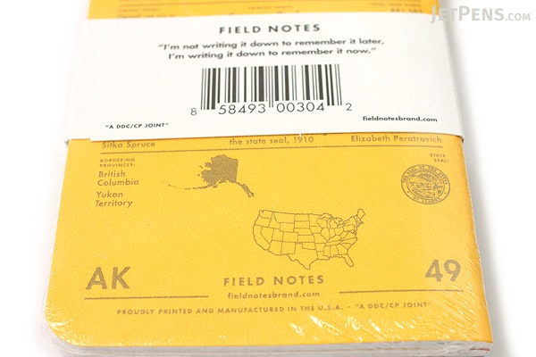 """Field Notes Color Cover Memo Book - County Fair - 3.5"""" x 5.5"""" - 48 Pages - 5 mm Graph - Pack of 3 - Alaska - FIELD NOTES FN-01A-AK"""