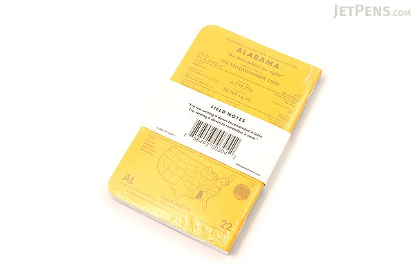 """Field Notes Color Cover Memo Book - County Fair - 3.5"""" x 5.5"""" - 48 Pages - 5 mm Graph - Pack of 3 - Alabama - FIELD NOTES FN-01A-AL"""