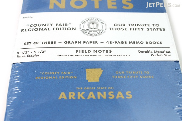 """Field Notes Color Cover Memo Book - County Fair - 3.5"""" x 5.5"""" - 48 Pages - 5 mm Graph - Pack of 3 - Arkansas - FIELD NOTES FN-01A-AR"""