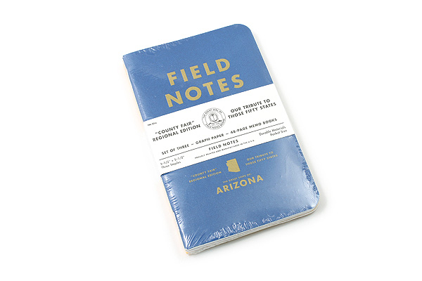 """Field Notes Color Cover Memo Book - County Fair - 3.5"""" x 5.5"""" - 48 Pages - 5 mm Graph - Pack of 3 - Arizona - FIELD NOTES FN-01A-AZ"""