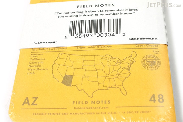 "Field Notes Color Cover Memo Book - County Fair - 3.5"" x 5.5"" - 48 Pages - 5 mm Graph - Pack of 3 - Arizona - FIELD NOTES FN-01A-AZ"