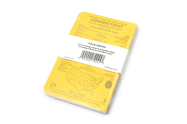 """Field Notes Color Cover Memo Book - County Fair - 3.5"""" x 5.5"""" - 48 Pages - 5 mm Graph - Pack of 3 - Connecticut - FIELD NOTES FN-01A-CT"""