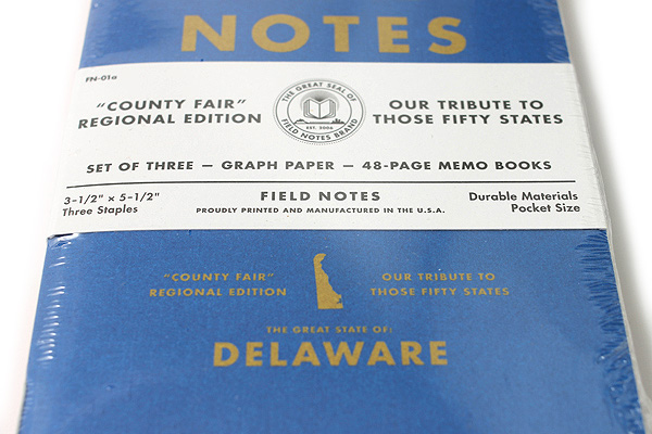 """Field Notes Color Cover Memo Book - County Fair - 3.5"""" x 5.5"""" - 48 Pages - 5 mm Graph - Pack of 3 - Delaware - FIELD NOTES FN-01A-DE"""