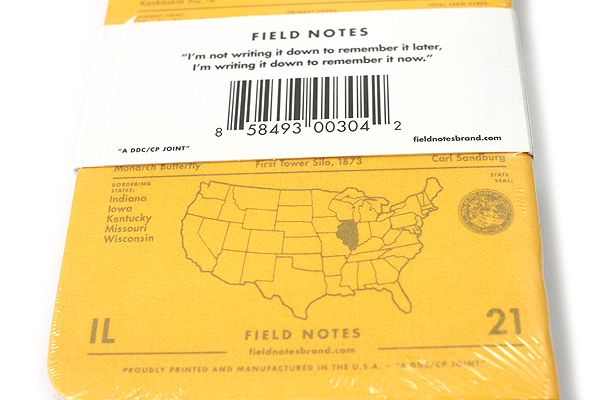 "Field Notes Color Cover Memo Book - County Fair - 3.5"" x 5.5"" - 48 Pages - 5 mm Graph - Pack of 3 - Illinois - FIELD NOTES FN-01A-IL"