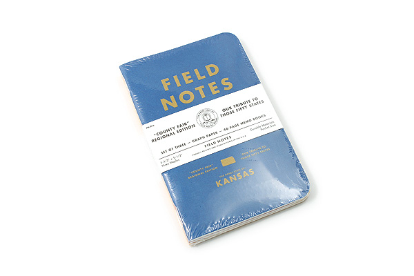 "Field Notes Color Cover Memo Book - County Fair - 3.5"" x 5.5"" - 48 Pages - 5 mm Graph - Pack of 3 - Kansas - FIELD NOTES FN-01A-KS"