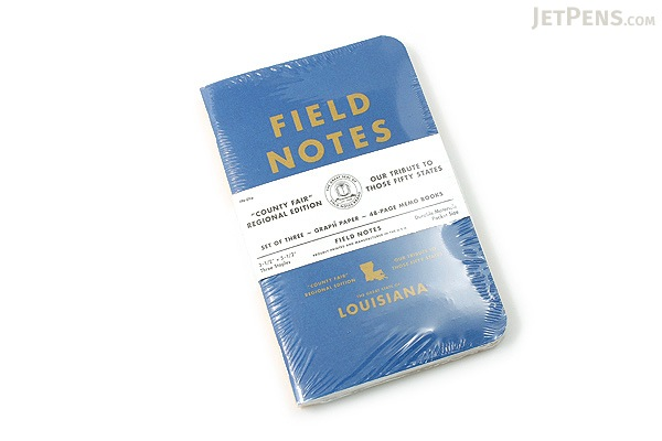 "Field Notes Color Cover Memo Book - County Fair - 3.5"" x 5.5"" - 48 Pages - 5 mm Graph - Pack of 3 - Louisiana - FIELD NOTES FN-01A-LA"
