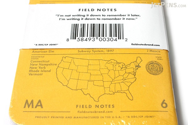 "Field Notes Color Cover Memo Book - County Fair - 3.5"" x 5.5"" - 48 Pages - 5 mm Graph - Pack of 3 - Massachusetts - FIELD NOTES FN-01A-MA"