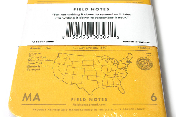 """Field Notes Color Cover Memo Book - County Fair - 3.5"""" x 5.5"""" - 48 Pages - 5 mm Graph - Pack of 3 - Massachusetts - FIELD NOTES FN-01A-MA"""