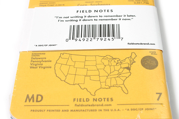 "Field Notes Color Cover Memo Book - County Fair - 3.5"" x 5.5"" - 48 Pages - 5 mm Graph - Pack of 3 - Maryland - FIELD NOTES FN-01A-MD"