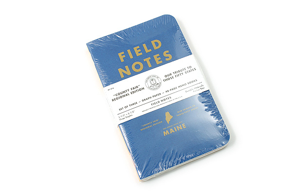 """Field Notes Color Cover Memo Book - County Fair - 3.5"""" x 5.5"""" - 48 Pages - 5 mm Graph - Pack of 3 - Maine - FIELD NOTES FN-01A-ME"""