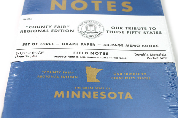 """Field Notes Color Cover Memo Book - County Fair - 3.5"""" x 5.5"""" - 48 Pages - 5 mm Graph - Pack of 3 - Minnesota - FIELD NOTES FN-01A-MN"""