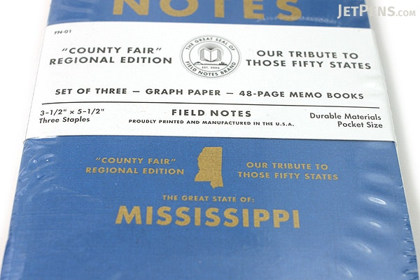 """Field Notes Color Cover Memo Book - County Fair - 3.5"""" x 5.5"""" - 48 Pages - 5 mm Graph - Pack of 3 - Mississippi - FIELD NOTES FN-01A-MS"""