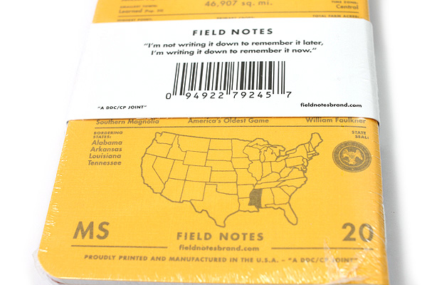 "Field Notes Color Cover Memo Book - County Fair - 3.5"" x 5.5"" - 48 Pages - 5 mm Graph - Pack of 3 - Mississippi - FIELD NOTES FN-01A-MS"
